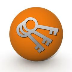 Key circular icon on white background