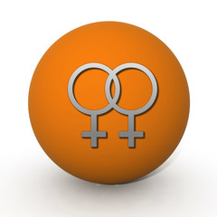 Lesbian circular icon on white background