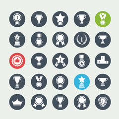 Big vector set white avards  icons