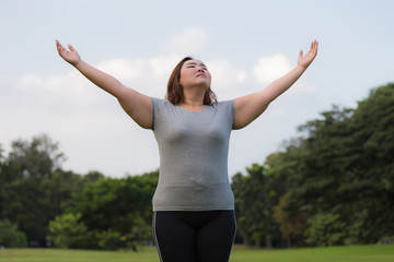 obese women breath of fresh air.