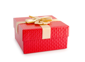 Red gift box and gold ribbon isolated clipping path.