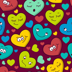 Colorful seamless pattern of cartoon heart emotions. Valentine's