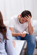 Crying man during psychotherapy