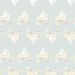 Seamless pattern with butterfly and hearts