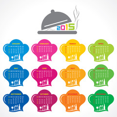 Calendar of 2015 with restaurant concept design