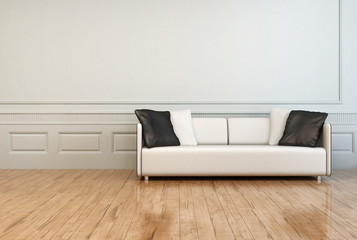 White Elegant Couch in an Empty Architectural Room