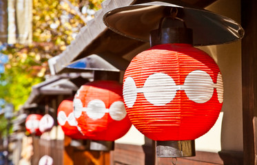 Japanese red lantern in Gion district, Kyoto,  Japan.