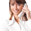 Businesswoman with phone, on white