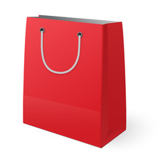 Red shopping bag isolated on white