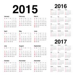 Calender 2015 2016 2017
