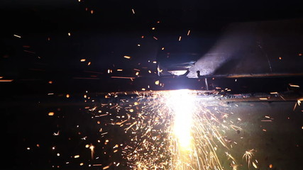 Sparks from cutting metal