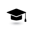 Vector black graduate cap icon