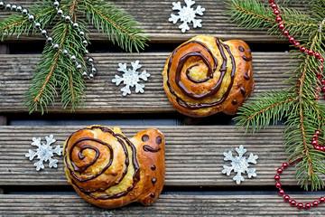 Buns brioche in shape of snail