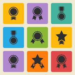 Vector black medal,award icons set