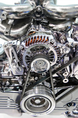 Car engine. Concept of modern automobile motor