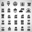 Taxi Icons Set - Isolated On Gray Background