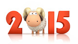 Fototapety Sheep and 2015 on white background