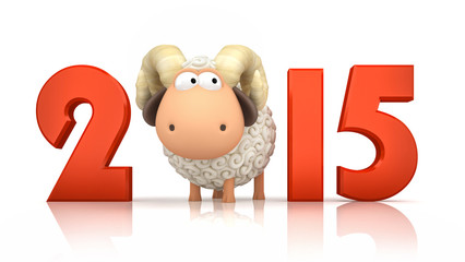 Sheep and 2015 on white background