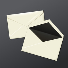 Blank white envelopes opened and close.
