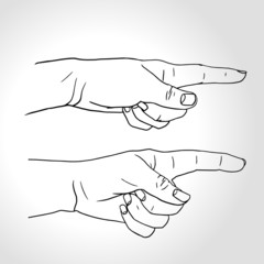 Pointing fingers, Hand with pointing finger