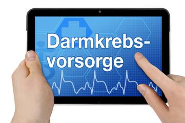 Tablet mit Interface und Darmkrebsvorsorge