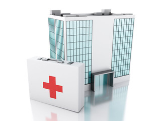 3d renderer. Hospital building and first aid kit