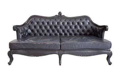 vintage luxury black sofa isolated on white background