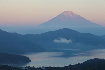 Mountain Fuji and Lake ashi in sunset time