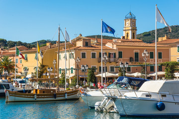 Elba island, panoramic view of harbor of Porto Azzurro Village