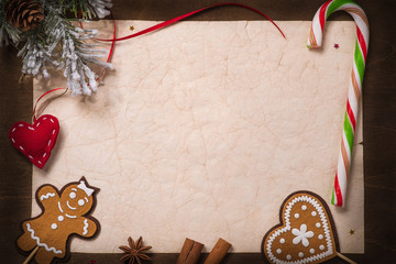 Christmas decorations on the old sheet of paper