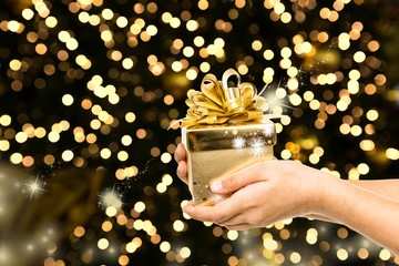 golden bokeh christmas presents