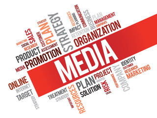 Word Cloud with Media related tags, vector business concept