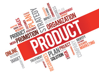 Word Cloud with Product related tags, vector business concept