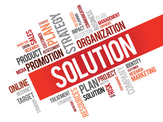 Word Cloud with Solution related tags, vector business concept