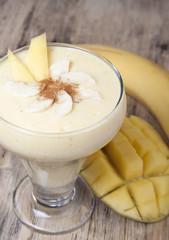Smoothies of mango and banana with yogurt