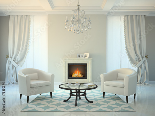 canvas print picture Classic style room with fireplace and armchairs 3D rendering