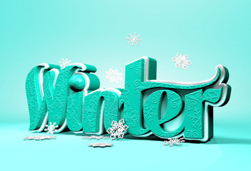 Winter 3D Dimensional Word with Snow Flakes