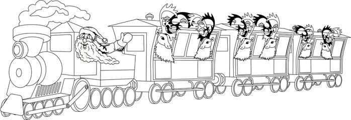Santa on train