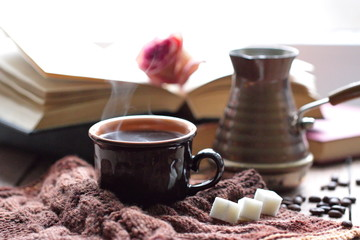 Cup of hot coffee in the morning