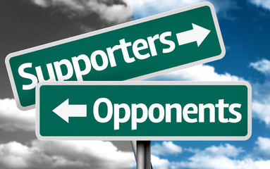 Supporters x Opponents creative sign with clouds