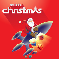Merry Christmas and Santa Stock Illustration
