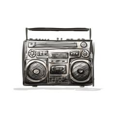 Retro cassette recorder, sketch for your design