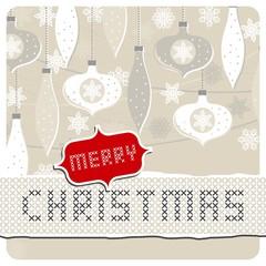 bombki i gwiazdki beżowa pozioma kartka świąteczna z życzeniami