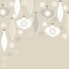 bombki i gwiazdki beżowe zimowe tło