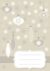 bombki i gwiazdki beżowa pionowa kartka świąteczna z ramką