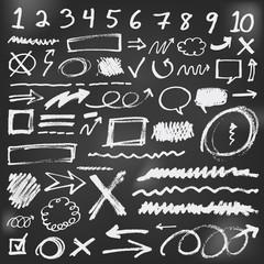Speech bubbles sketch doodles in black chalkboard