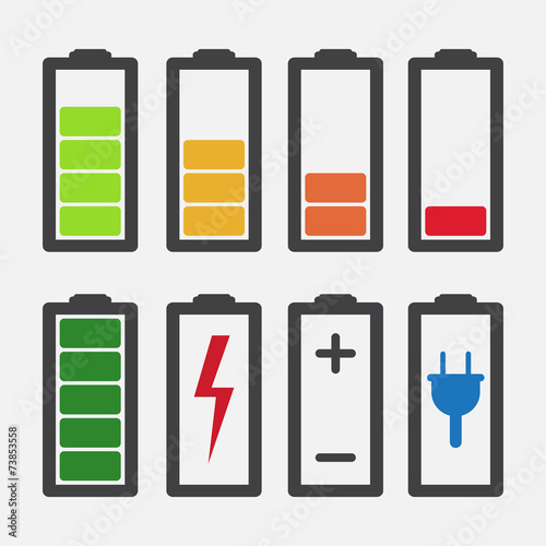 Set of colourful battery charge level indicators - 73853558