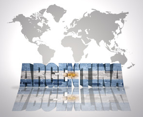 Word Argentina on a world map background