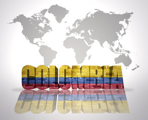 Word Colombia on a world map background