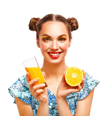 Beauty Model Girl with Juicy Oranges